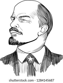 Vladimir Lenin (1870-1924) portrait in line art illustration. He was Russian Communist Revolutionary, politician and political theorist. The prime minister of Union of Soviet Socialist Republics.