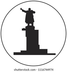 Vladimir Lenin monument vector icon from Saint-Petersburg Russian landmark set, Russian Revolution leader giving a speech from an armored car monument near Finland railway station in St Petersburg
