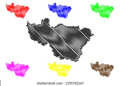 Vladimir Oblast (Russia, Subjects of the Russian Federation, Oblasts of Russia) map vector illustration, scribble sketch Vladimir Oblast map