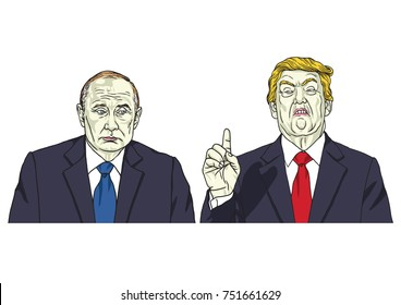 Vladimir Putin with Donald Trump. Vector Illustration. November 9, 2017