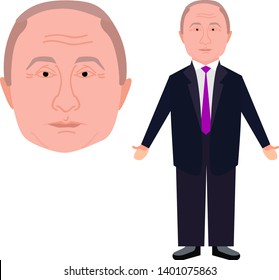 Vladimir Putin Flat Design in Fun Cartoon Style. Putin in Full Growth in Jacket (Face and Character Vector Illustration). Ready for Rigging Animation.