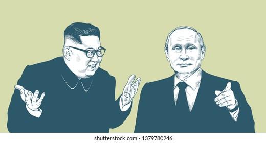 Vladimir Putin and Kim Jong-un. Vector Portrait Drawing Illustration. April 23, 2019