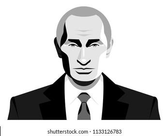 Vladimir Putin. President of Russia. Black and white vector portrait.
