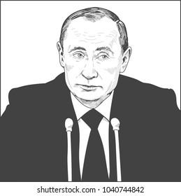 Vladimir Putin. Vector Portrait Drawing Illustration. March 05, 2018