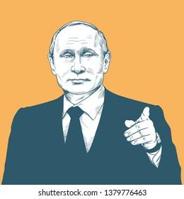 Vladimir Putin. Vector Portrait Drawing Illustration. April 23, 2019