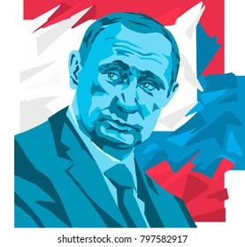 Vladimir Putin. Vector Portrait Drawing Illustration. January 20, 2018