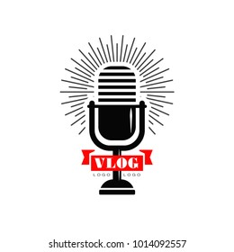 Vlog and blog logo with black retro microphone and red ribbon. Original emblem for Youtube video channel, online broadcast or live stream. Vector design