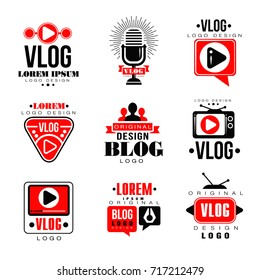 Vlog and blog original logo design set, video blogging or video channel badges vector Illustrations