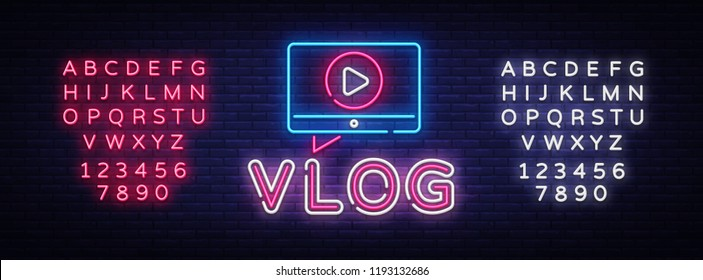 Vlog neon sign vector design template. Blogging neon logo, light banner design element colorful modern design trend, night bright advertising, bright sign. Vector illustration. Editing text neon sign