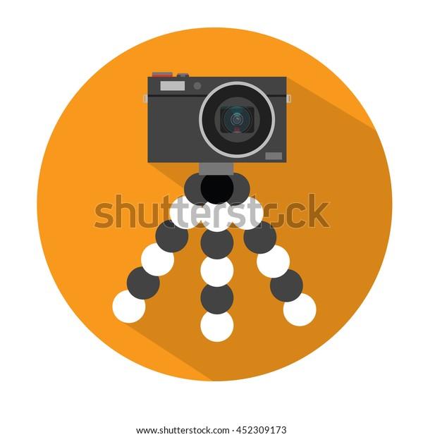 Vlog Setup Camera On Tripod Flat Stock Vector (Royalty Free