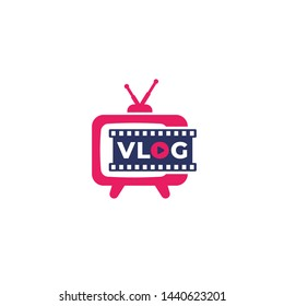 Vlog vector logo with old tv