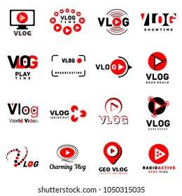 Vlog video channel logo icons set. Simple illustration of 16 vlog video channel logo vector icons for web