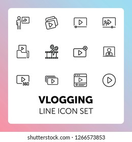 Vlogging line icon set. Set of line icons on white background. Video production concept. Video folder, editing, playlist. Vector illustration can be used for topics like production, vlogging, cutting