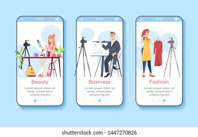 Vlogging onboarding mobile app screen vector template. Beauty, business, fashion blogs. Influencer marketing. Walkthrough website steps with flat characters. UX, UI, GUI smartphone cartoon interface