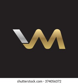 VM company linked letter logo golden silver black background
