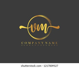 VM initial handwriting logo circle template vector