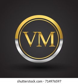 VM Letter logo in a circle, gold and silver colored. Vector design template elements for your business or company identity.