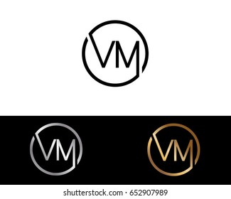 Vm Logo. Letter Design Vector with Red and Black Gold Silver Colors