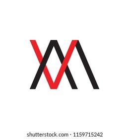VM logo, MV logo letter design