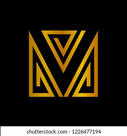 VM logo. MV logo. letter M and letter V in unity shape with line concept
