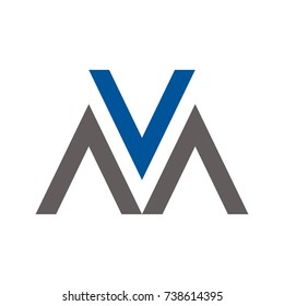 VM or M logo letter design template vector