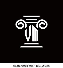 VM monogram logo with pillar style design template