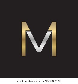 VM MV initial company square M shape silver gold logo black background