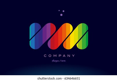 vm v m alphabet letter colorful creative colors text dots creative company logo vector icon design template