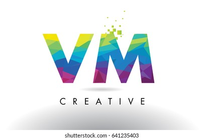 VM V M Colorful Letter Design with Creative Origami Triangles Rainbow Vector.
