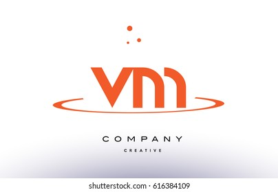 VM V M creative orange swoosh dots alphabet company letter logo design vector icon template