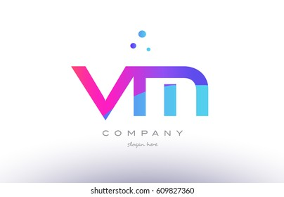 vm v m  creative pink purple blue modern dots creative alphabet gradient company letter logo design vector icon template