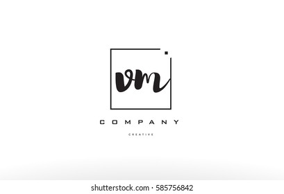 vm v m hand writing written black white alphabet company letter logo square background small lowercase design creative vector icon template