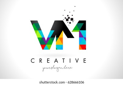 VM V M Letter Logo with Colorful Vivid Triangles Texture Design Vector Illustration.