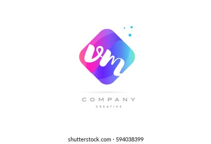 vm v m  pink blue rhombus abstract 3d alphabet company letter text logo hand writting written design vector icon template