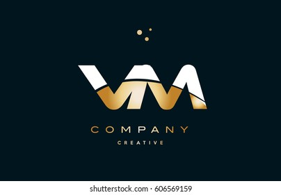vm v m  white yellow gold golden metal metallic luxury alphabet company letter logo design vector icon template