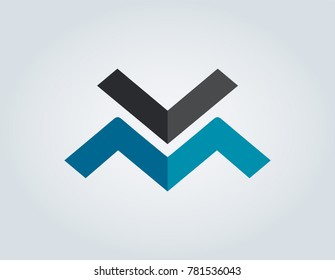VM WA logo vector, simple geometry logo template. Vector art