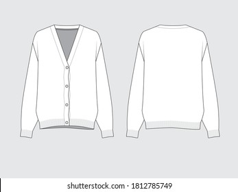 v-neck knit cardigan, front and back, drawing flat sketches with vector illustration by sweettears
