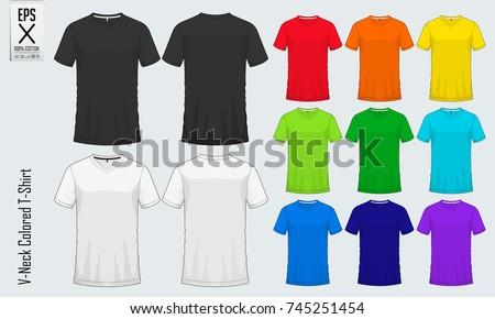Vneck Tshirts Templates Set Colored Shirt Image Vectorielle De Stock