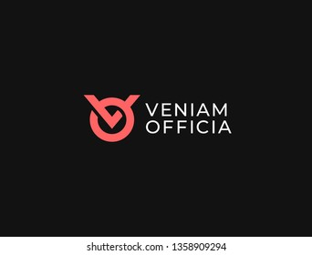VO. Monogram of Two letters V & O. Luxury, simple, minimal and elegant VO or OV logo design. Vector illustration template.