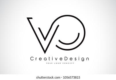 VO V O Letter Logo Design in Black Colors. Creative Modern Letters Vector Icon Logo Illustration.