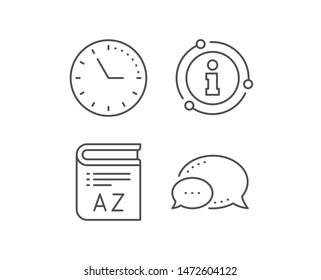 Vocabulary line icon. Chat bubble, info sign elements. Book glossary sign. Linear vocabulary outline icon. Information bubble. Vector