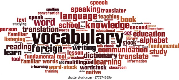 Vocabulary word cloud concept. Collage made of words about vocabulary. Vector illustration