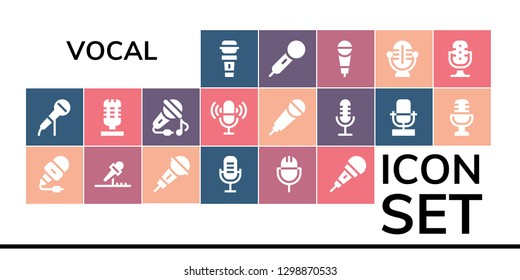 vocal icon set. 19 filled vocal icons. Simple modern icons about  - Microphone, Sing, Karaoke