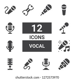 vocal icon set. Collection of 12 filled vocal icons included Microphone, Karaoke, Bands