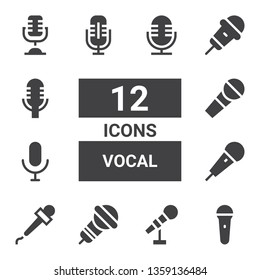 vocal icon set. Collection of 12 filled vocal icons included Mic, Microphone, Karaoke