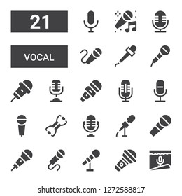 vocal icon set. Collection of 21 filled vocal icons included Microphone, Bands, Karaoke