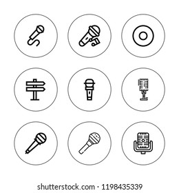 Vocal icon set. collection of 9 outline vocal icons with microphone, recording icons. editable icons.