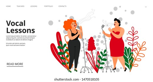 Vocal lessons landing page. Vector singing school web page template. Musicians, singers illustration. Music vocal school, performance musical sing