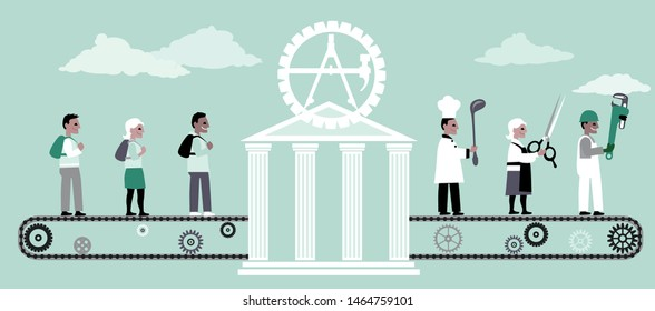 Vocational school turning young adults into trade professionals, EPS 8 vector illustration