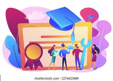 Vocational specialists graduating and diploma with graduation cap. Vocational education, professional learning, online vocational education concept. Bright vibrant violet vector isolated illustration